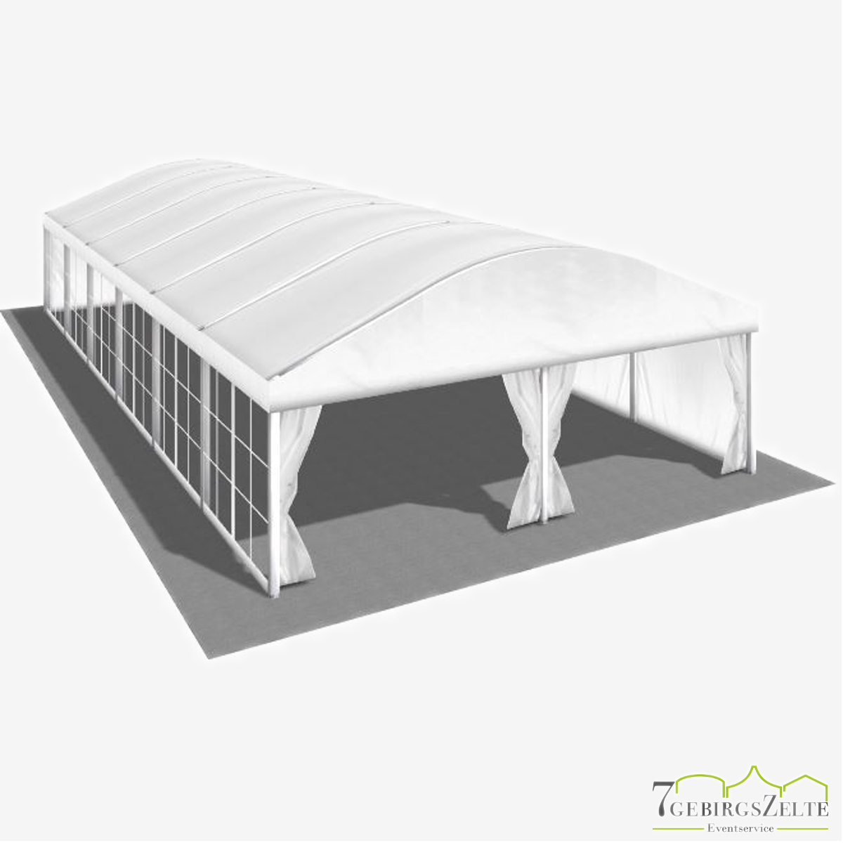 Bodega Rundbogenzelt ohne Boden, Giebelbreite 8 m