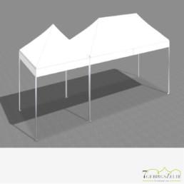Faltzeltkombination 3 x 9 m (27 m²) mit weißen Dächern (3 x 3 + 3 x 6 m)