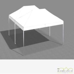 Faltzeltkombination 4.5 x 6 m (27 m²) mit weißen Dächern (2 x 3 x 4,5 m)