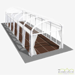 Bodega Rundbogenzelt mit Kassettenboden und Volltransparent, Giebelbreite 4 m