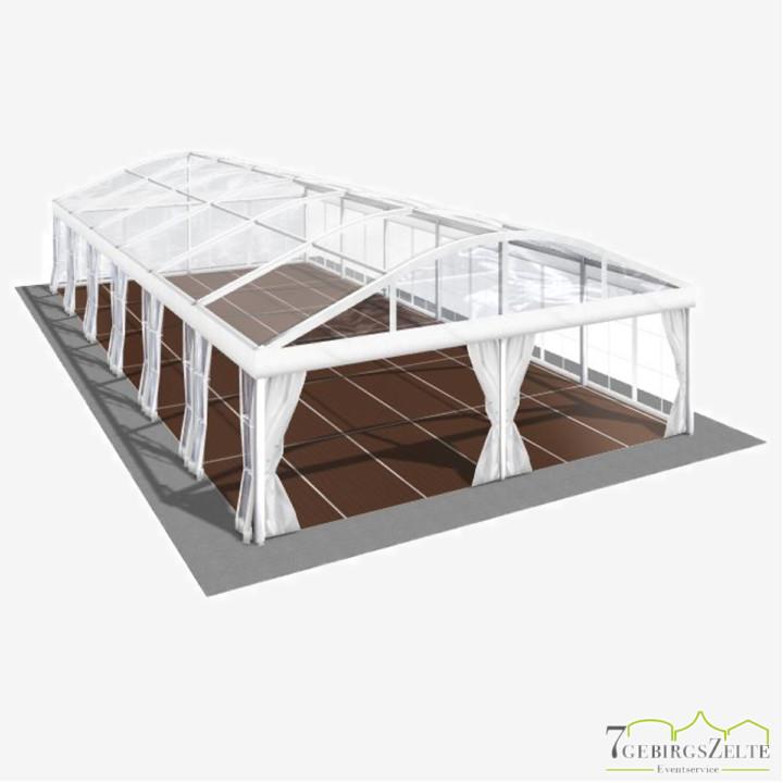 Bodega Rundbogenzelt mit Kassettenboden und Volltransparent, Giebelbreite 6 m