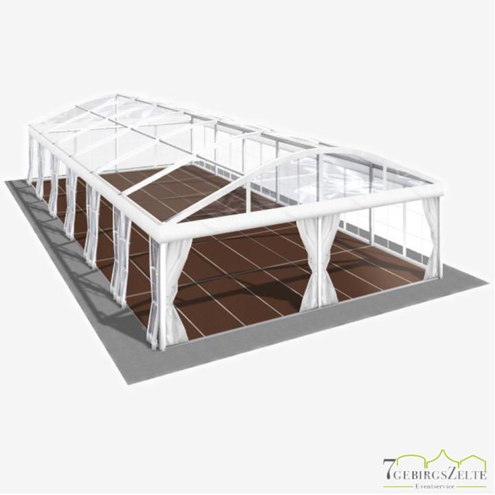 Bodega Rundbogenzelt mit Kassettenboden und Volltransparent, Giebelbreite 8 m