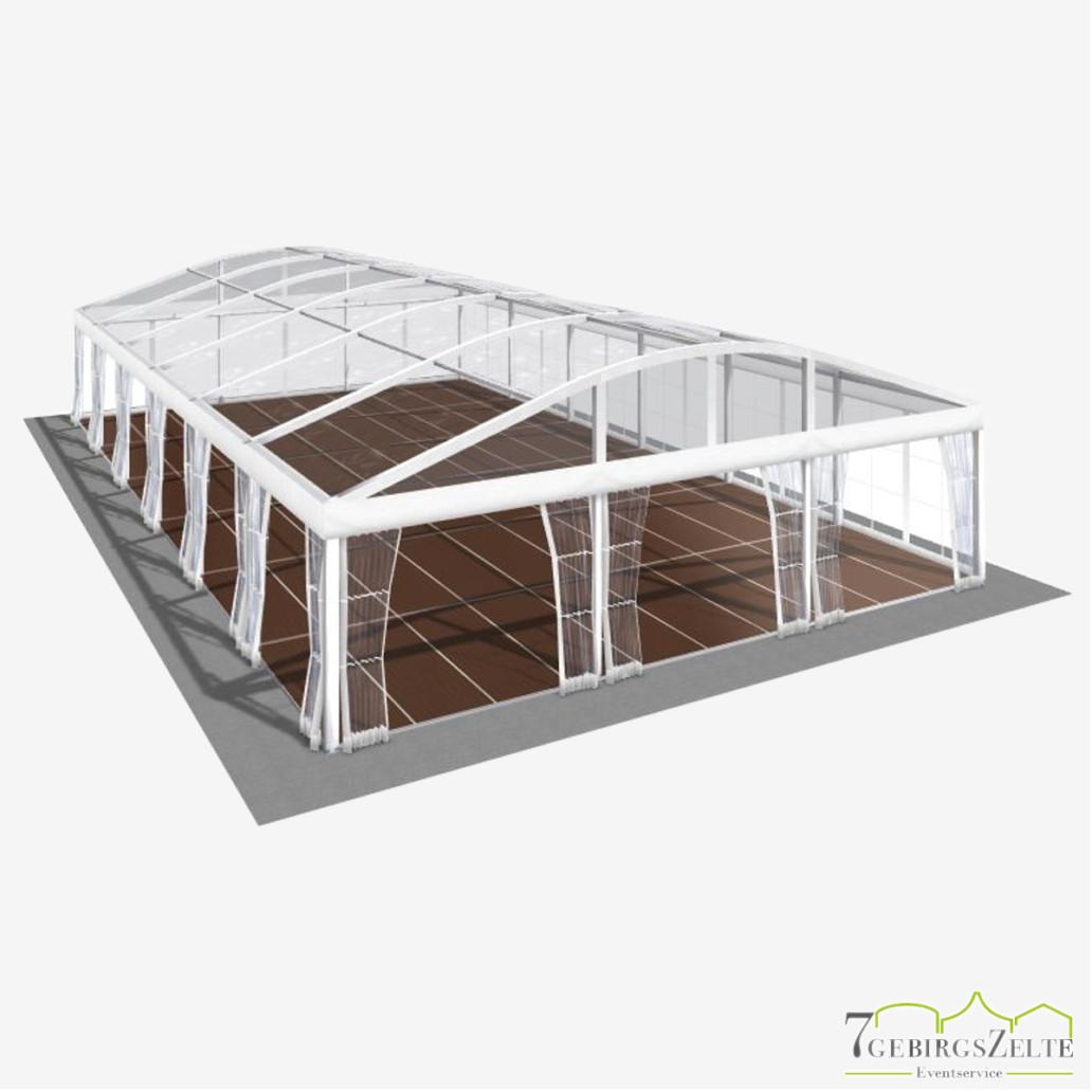 Bodega Rundbogenzelt mit Kassettenboden und Volltransparent, Giebelbreite 10 m