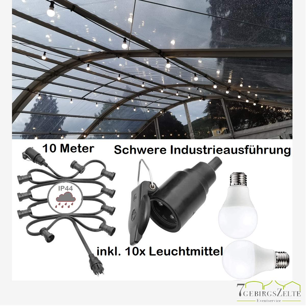 10er Lichterkette E27 inkl. LED Leuchtmittel 10W warmweiss