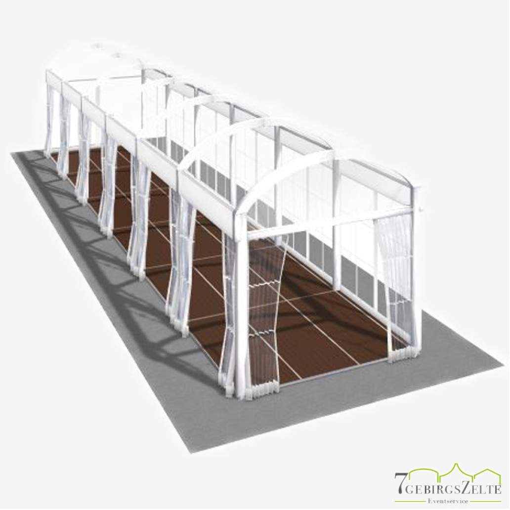Bodega Walkwayzelt mit Kassettenboden und Volltransparent, Giebelbreite 3 m