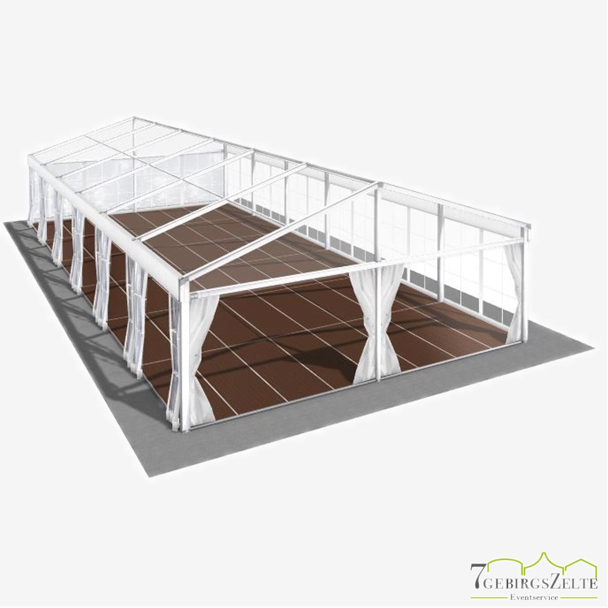 Eventzelt mit Kassettenboden und Volltransparent, Giebelbreite 8 m