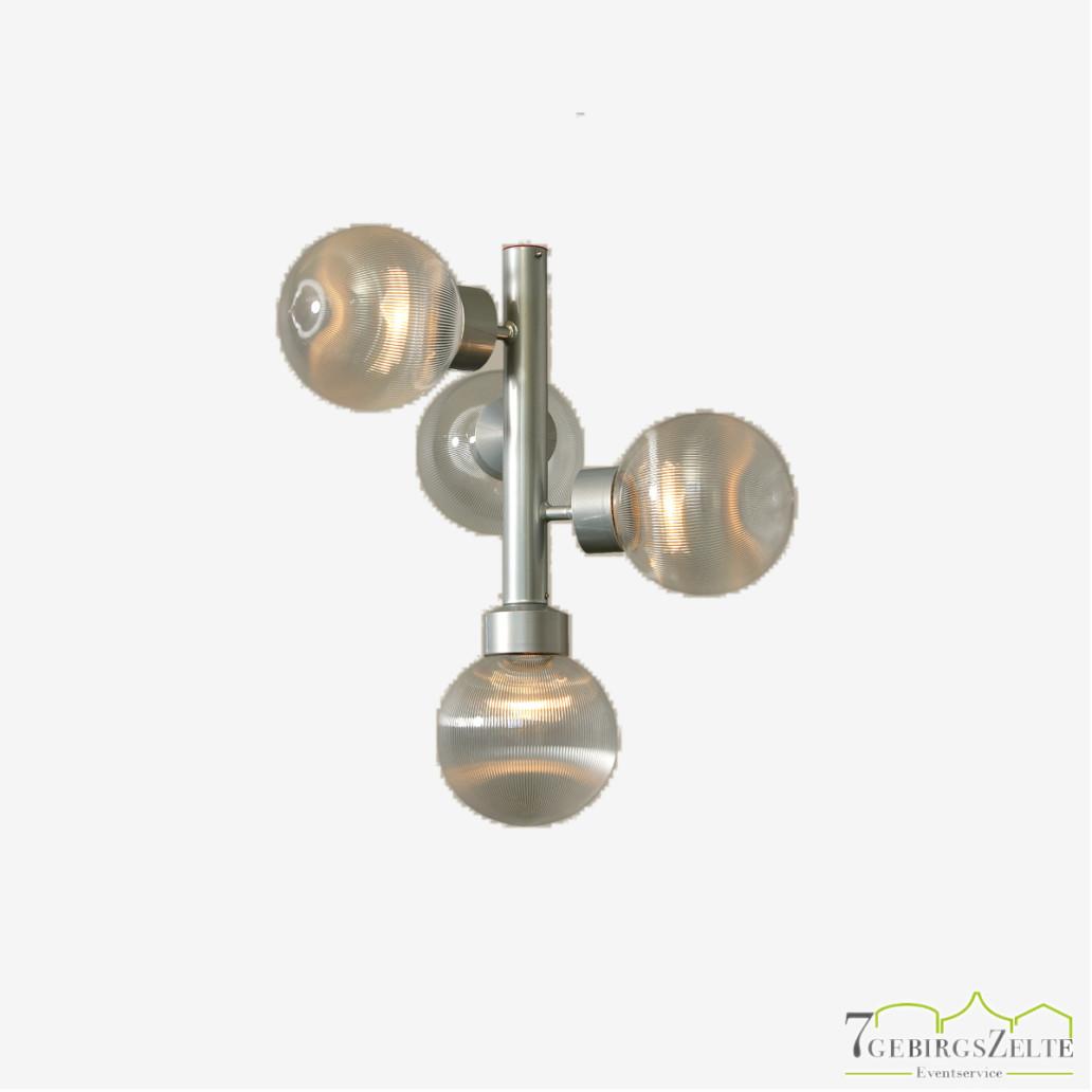 Stablampe silber mit 4 Kugeln