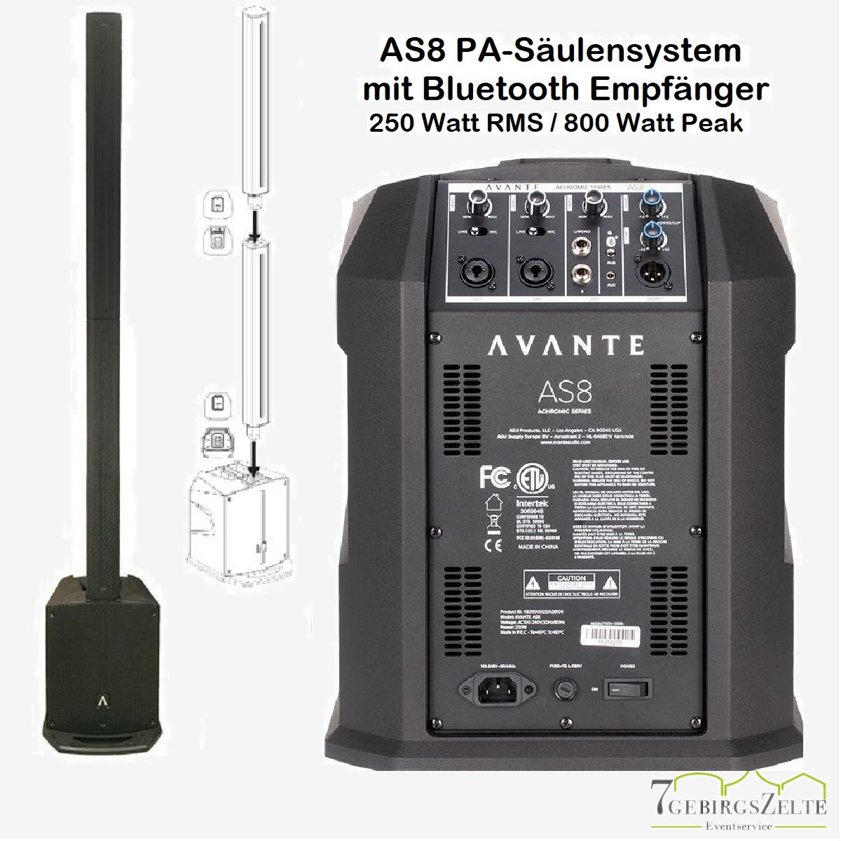 AS8 PA Säulen-Lautsprecher-System mit bluetooth Empfang