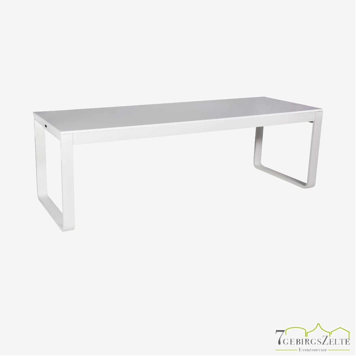 Flow Dinner Tisch 230 cm, Aluminium weiß