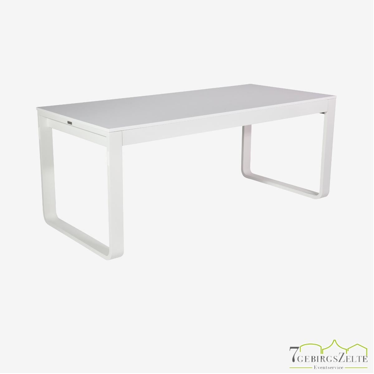 Flow Dinner Tisch 180 cm, Aluminium weiß
