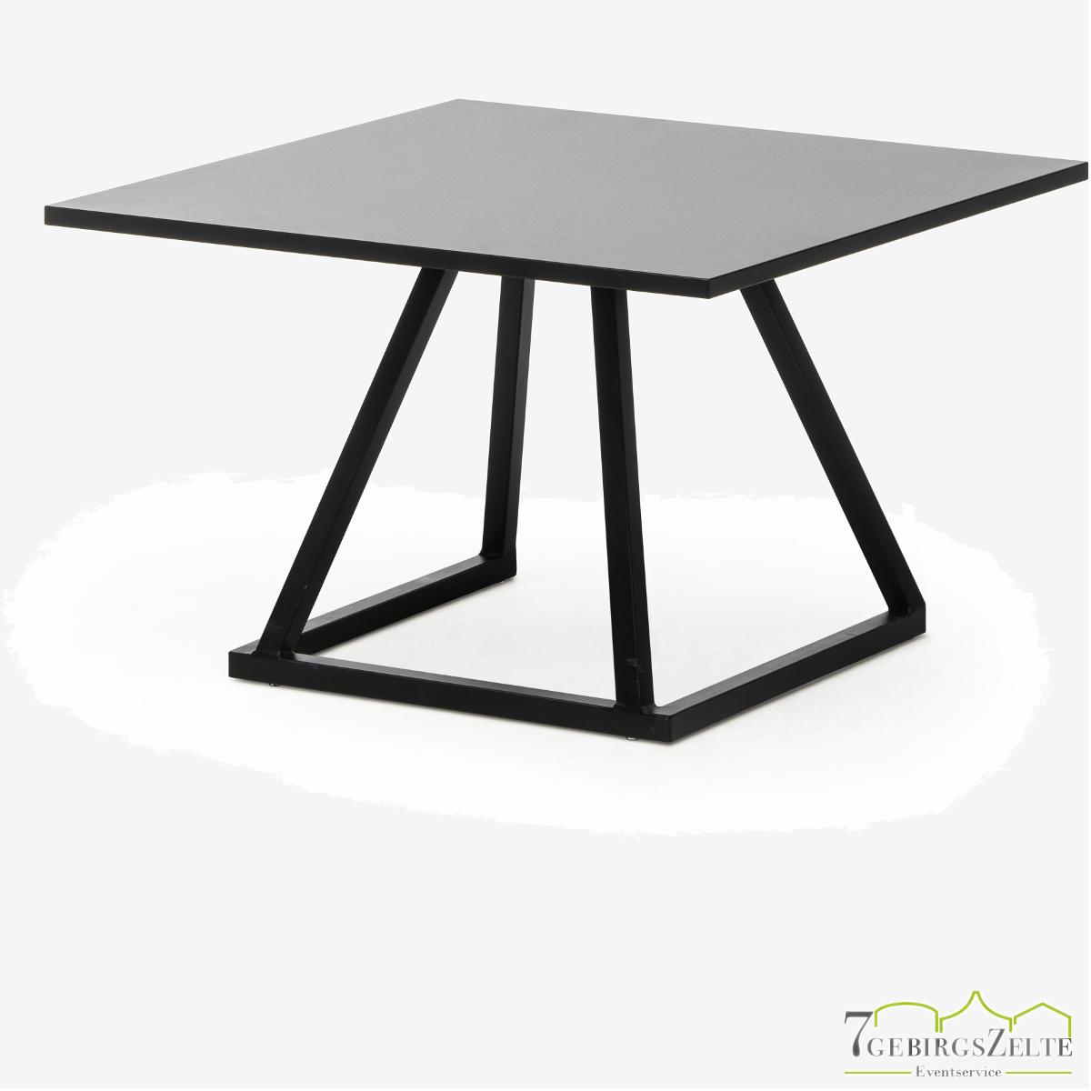 Linéa Lounge 70x70x40 - Aluminium schwarz  - verschiedene Tischplatten
