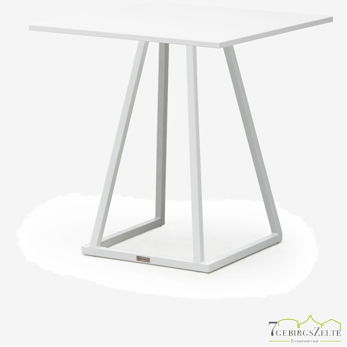 Linéa Lounge 70x70x74 - Aluminium weiß  - verschiedene Tischplatten