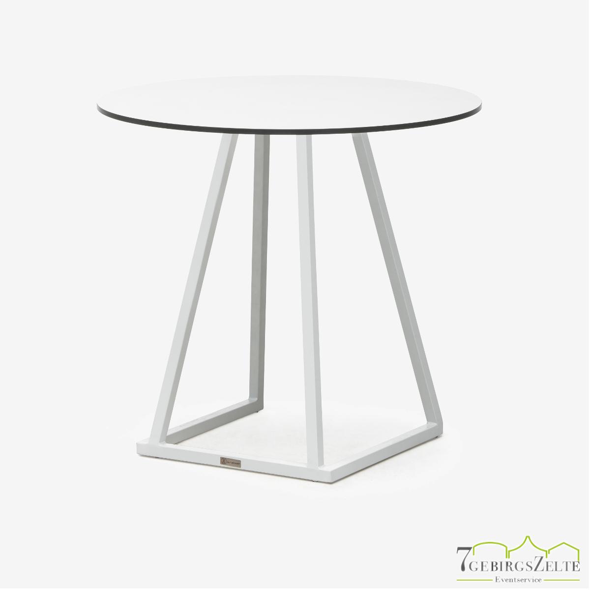 Linéa Lounge Rund 80 cm - Aluminium weiß  - Tischplatte melamine weiß