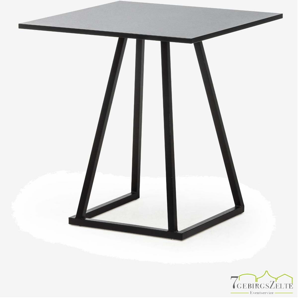 Linéa Lounge 70x70x74 - Aluminium schwarz  - verschiedene Tischplatten