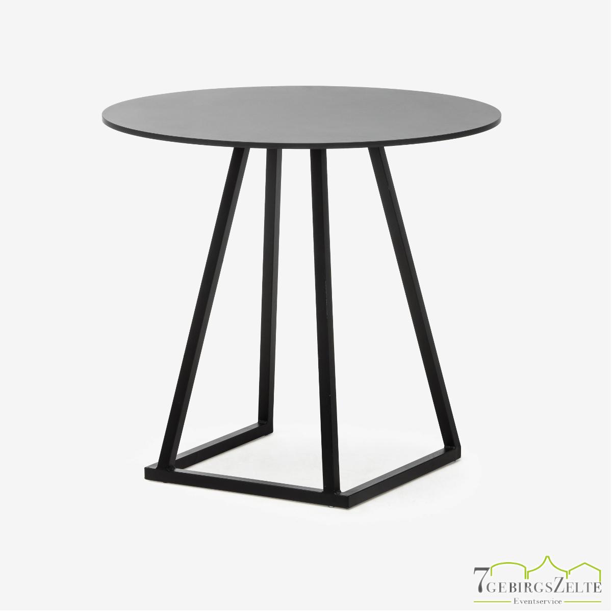 Linéa Lounge Rund 80 cm - Aluminium schwarz  - Tischplatte melamine schwarz