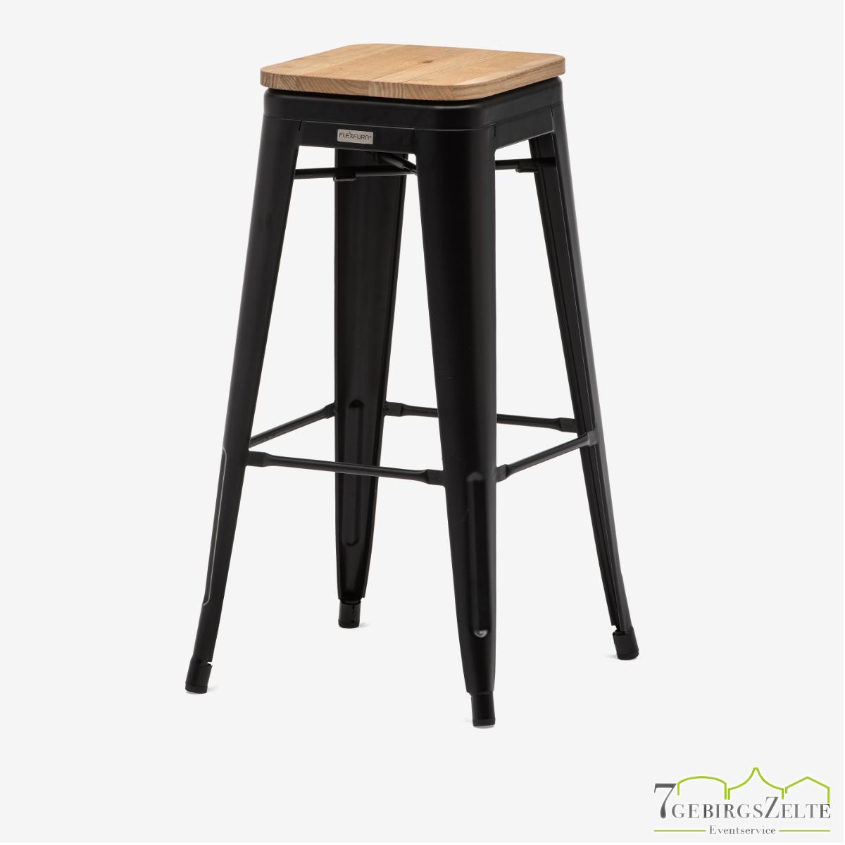 Tolix Barhocker; Stahl schwarz; mit Sitzfläche natürliche Ulme