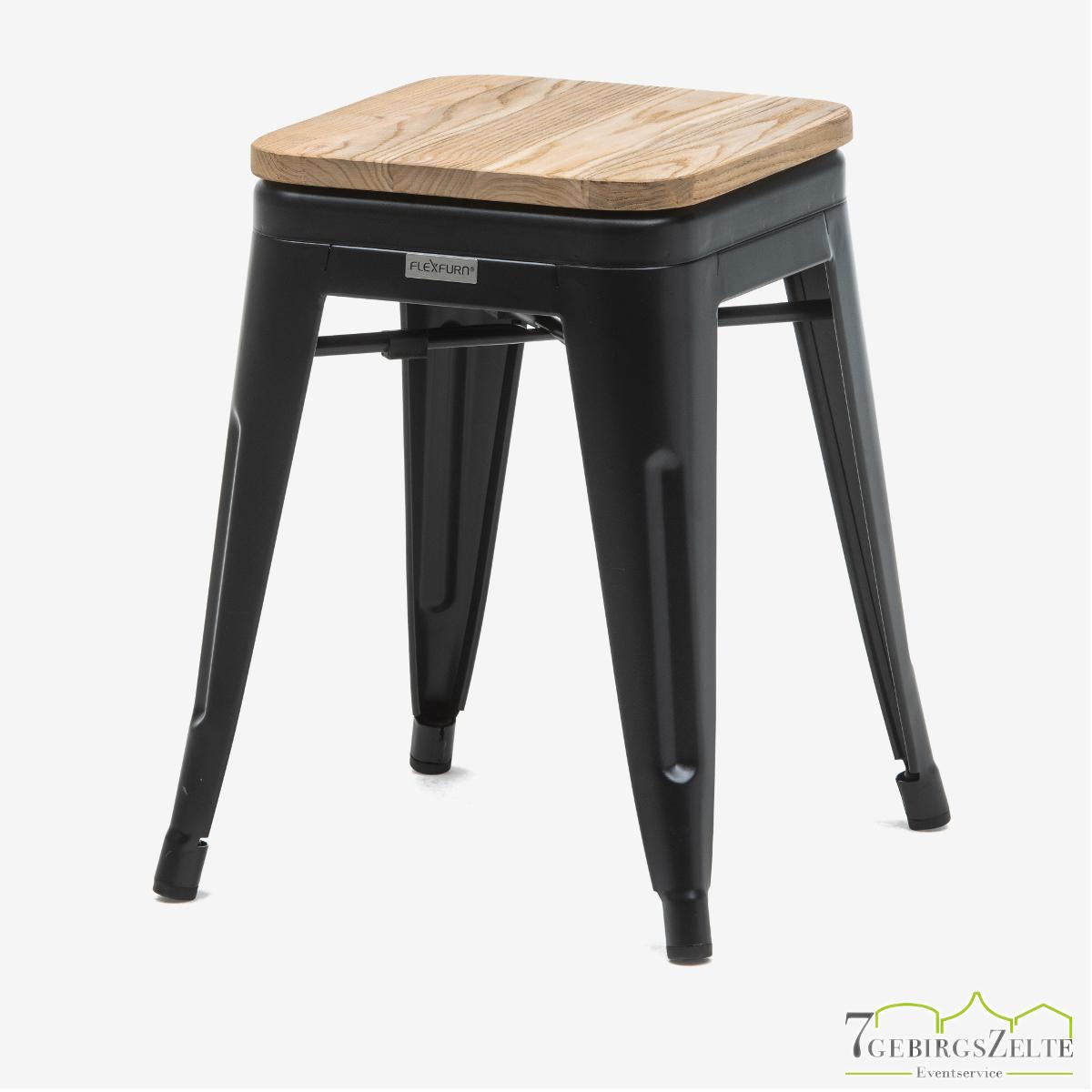 Tolix Hocker; Stahl schwarz; mit Sitzfläche natürliche Ulme