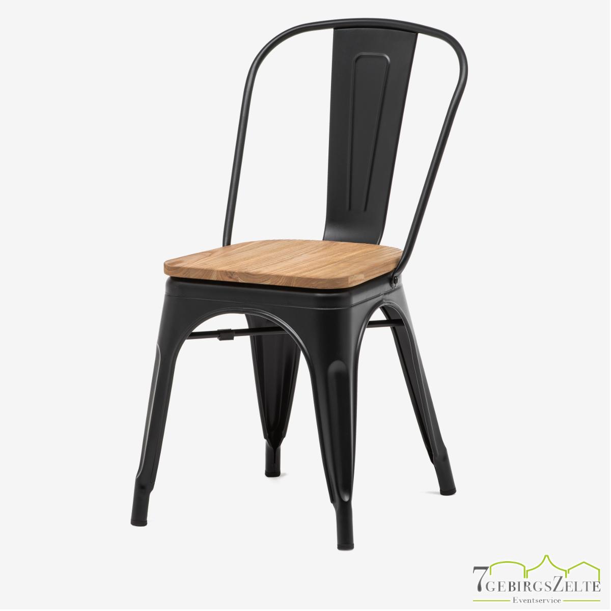 Tolix Stuhl, Stahl schwarz; mit Rückenlehne und Sitzfläche natürliche Ulme