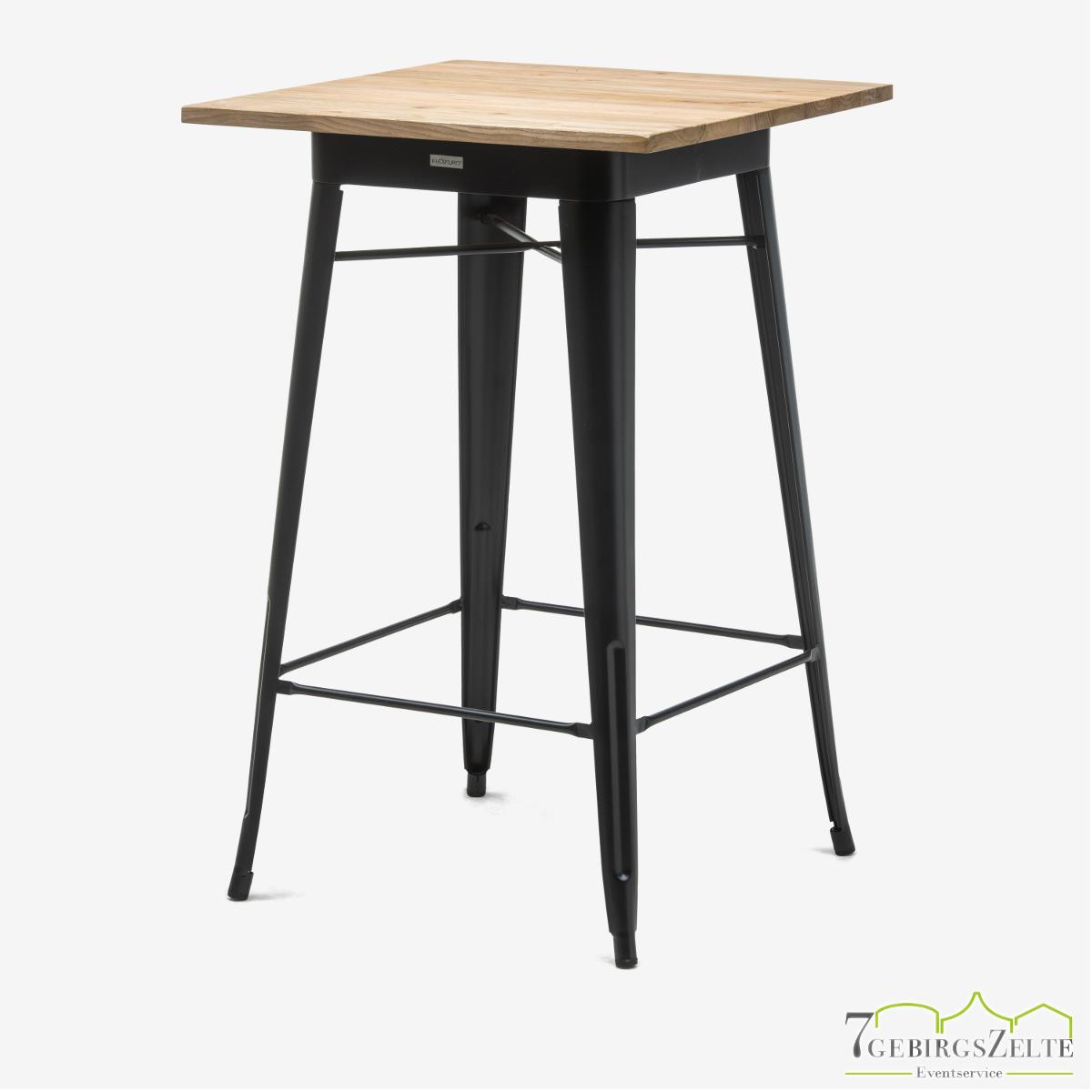 Tolix Stehtisch; Stahl schwarz; mit Tischplatte natürliche Ulme