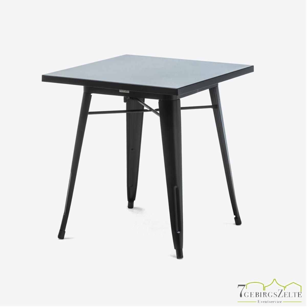 Tolix Dinner Tisch; Stahl schwarz; mit Tischplatte schwarz