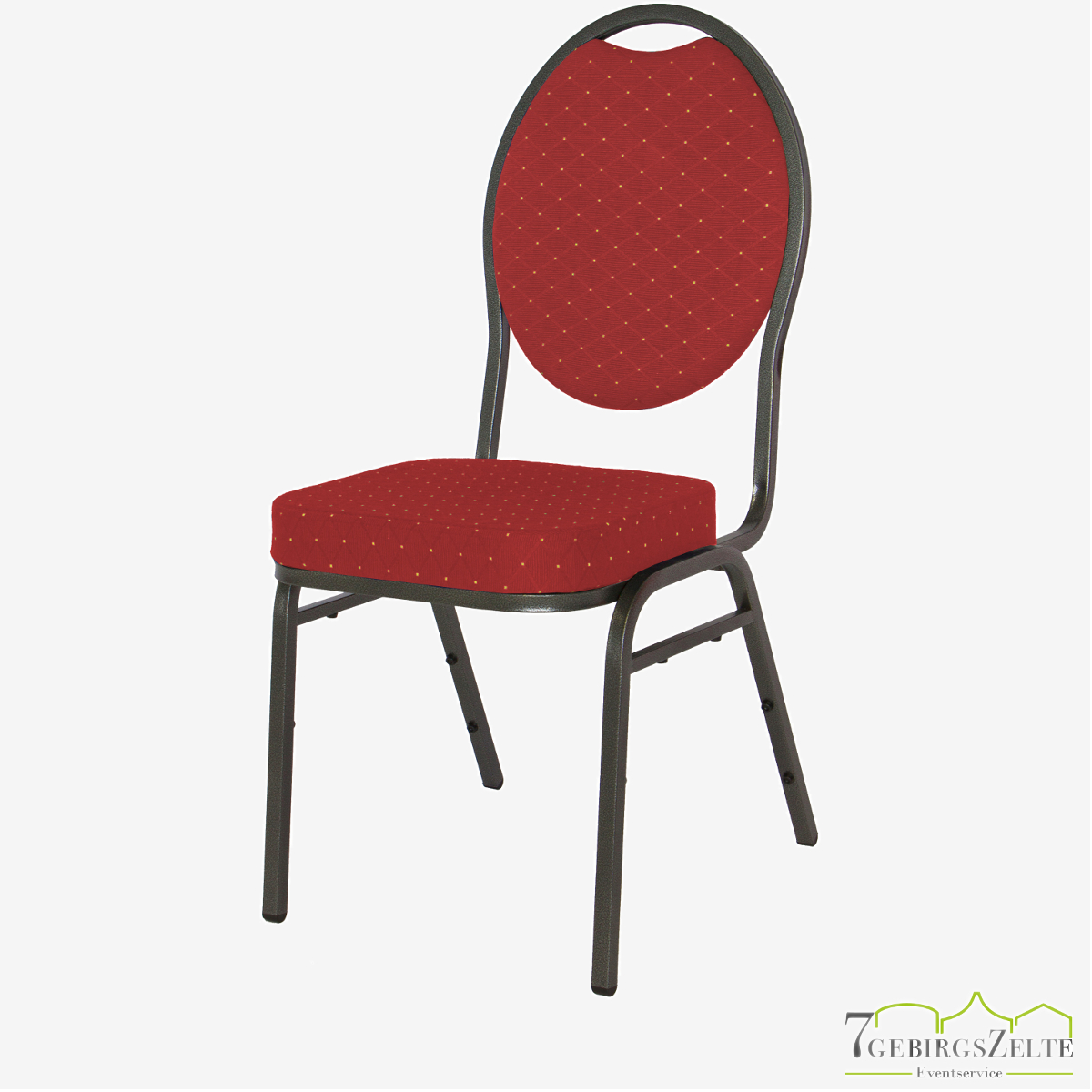 Stack chair Budget Red - hammerscale frame - fire retardant red/gold fabric