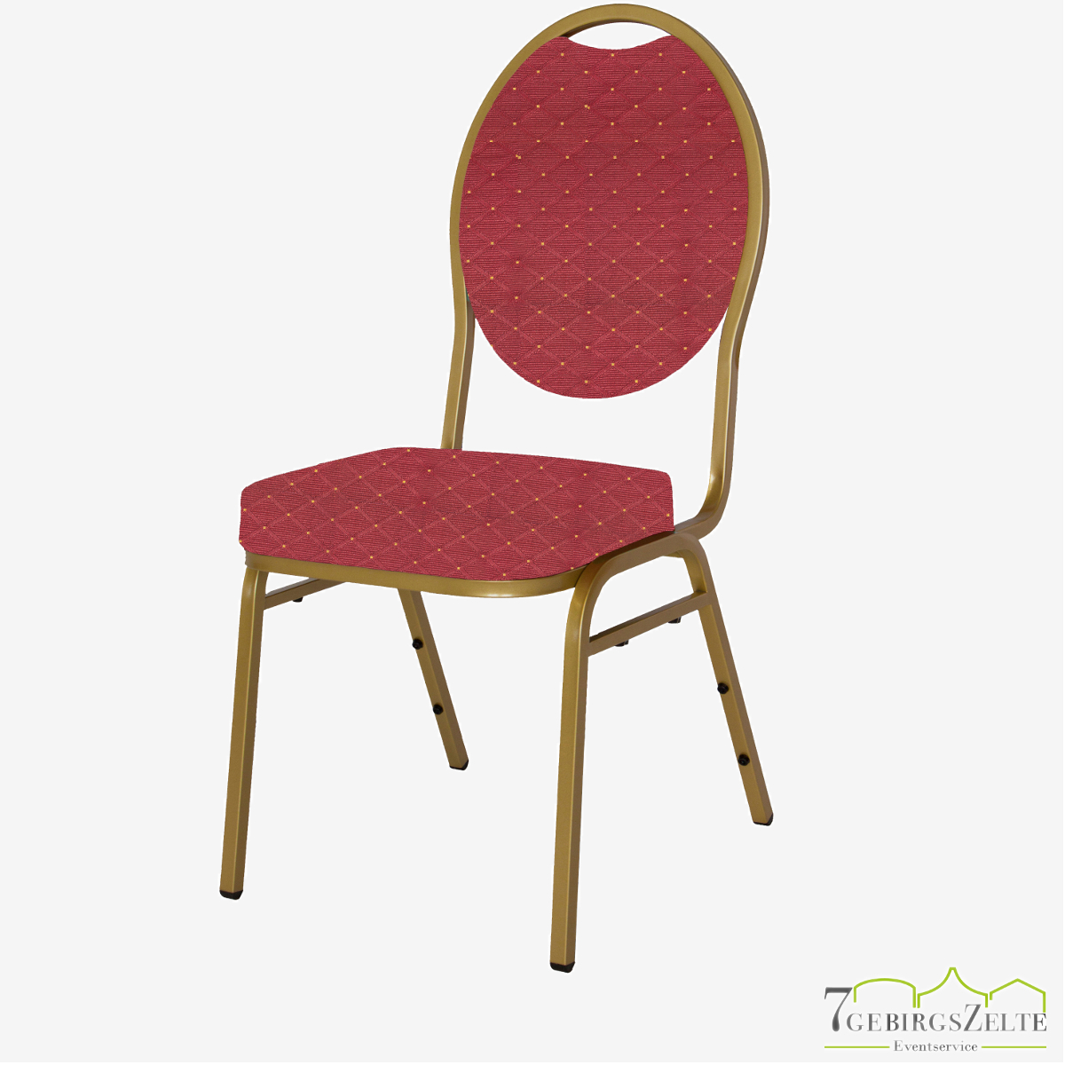 Stack chair Budget Red - gold frame - fire retardant red/gold fabric