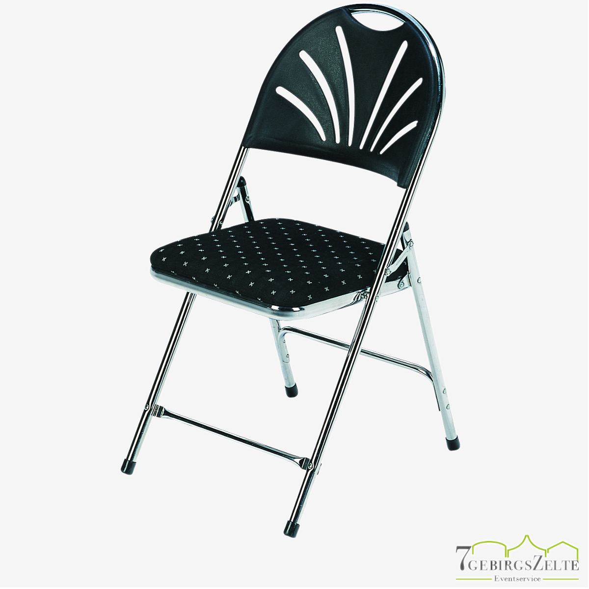 Folding chair  Deluxe  chrome frame - fire retardant schwarz/dotted fabric