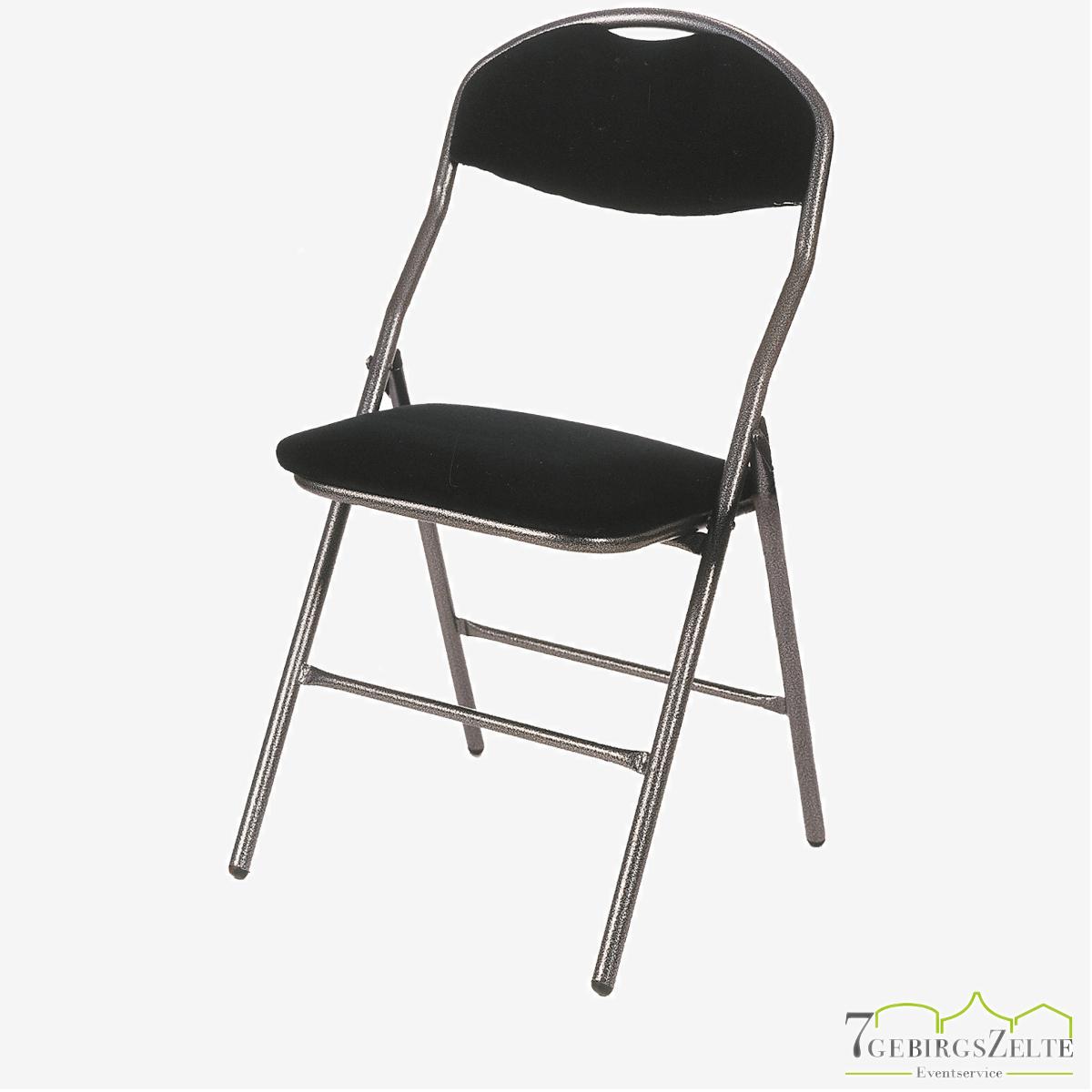 Folding chair  Super de Luxe hammerscale frame - fire retardant schwarz velvet  fabric