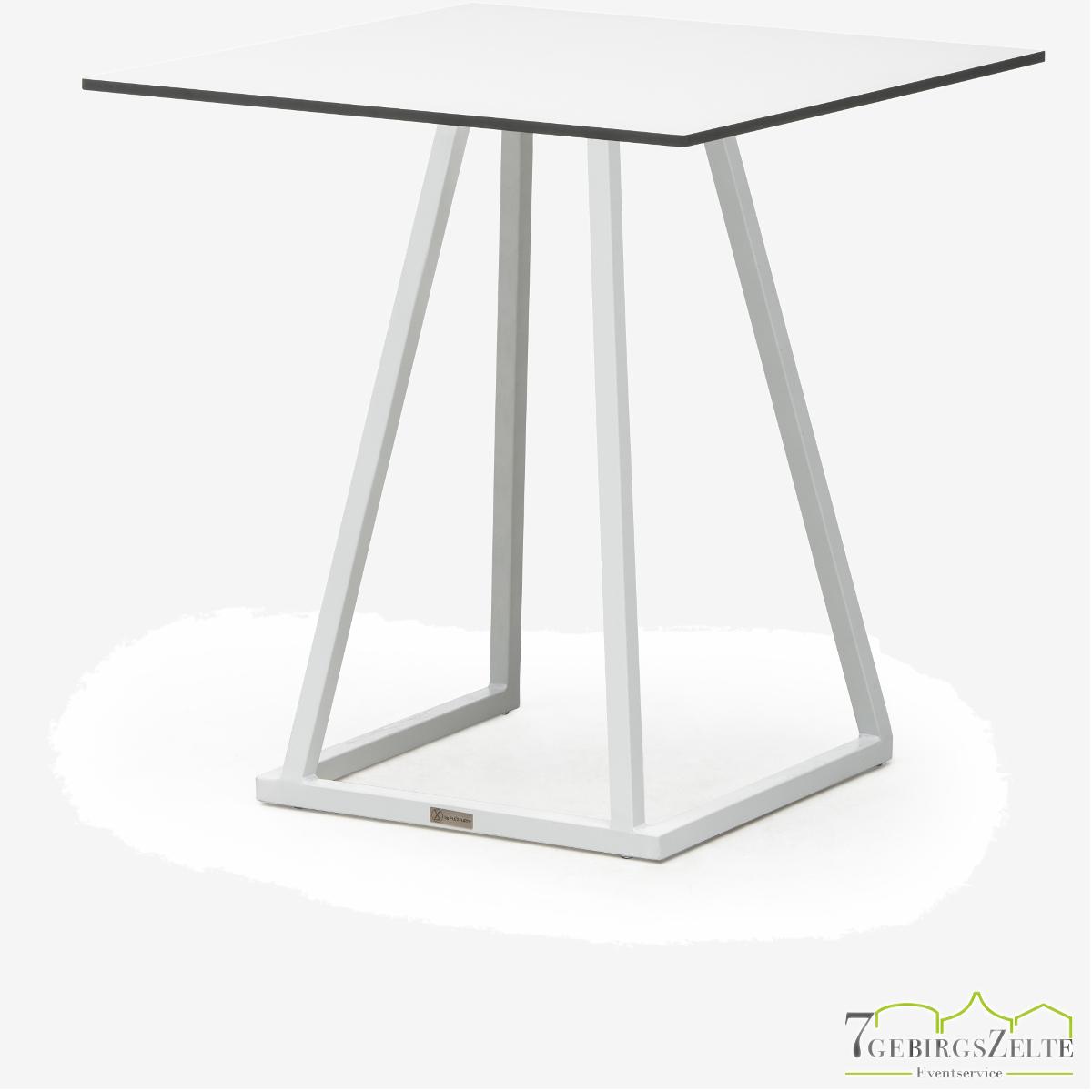 Linéa Lounge 70x70x40 - alu weiß  -Tischplatte Farbe: variabel