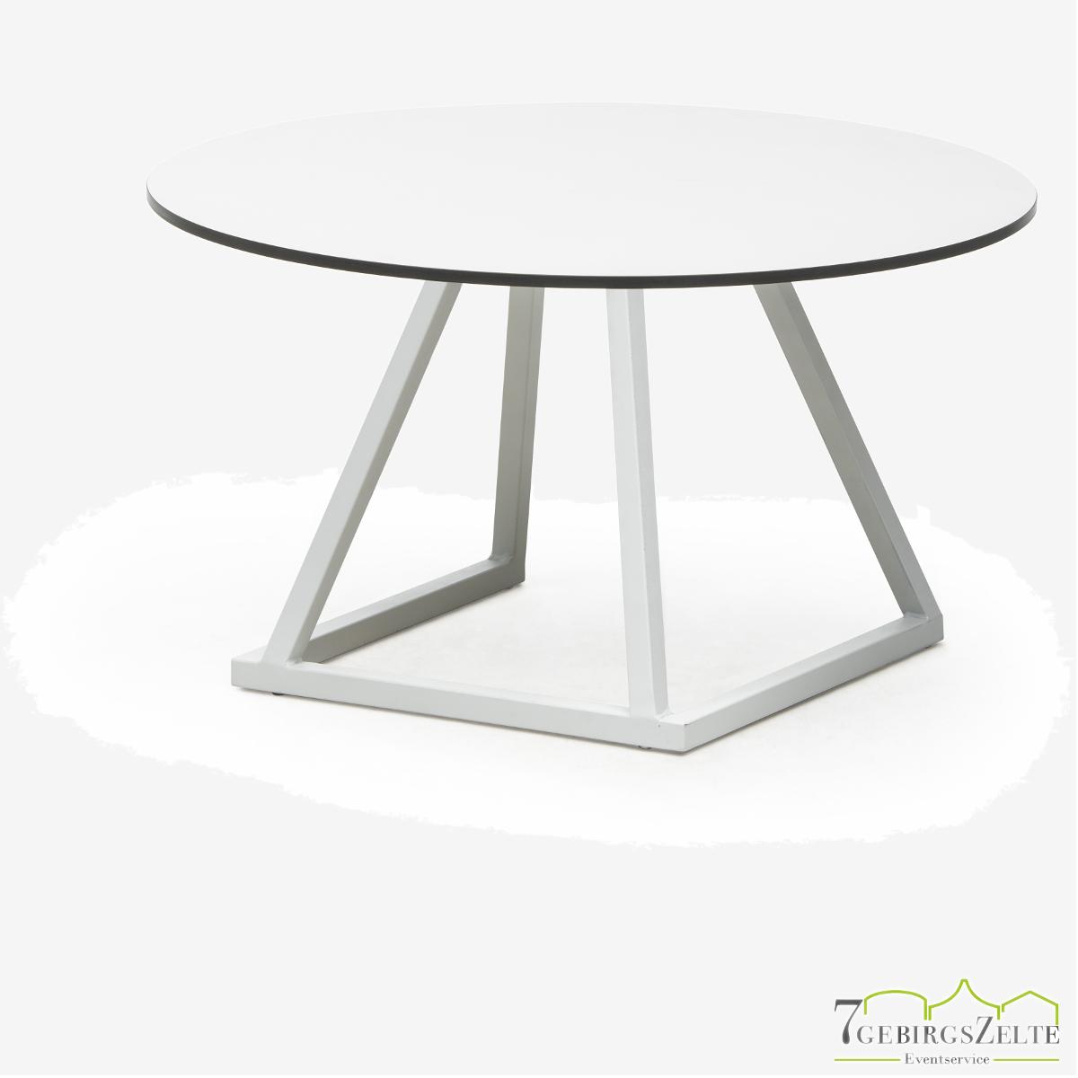 Linéa Lounge Round D80 x 40cm  - alu weiß  - top compact weiß