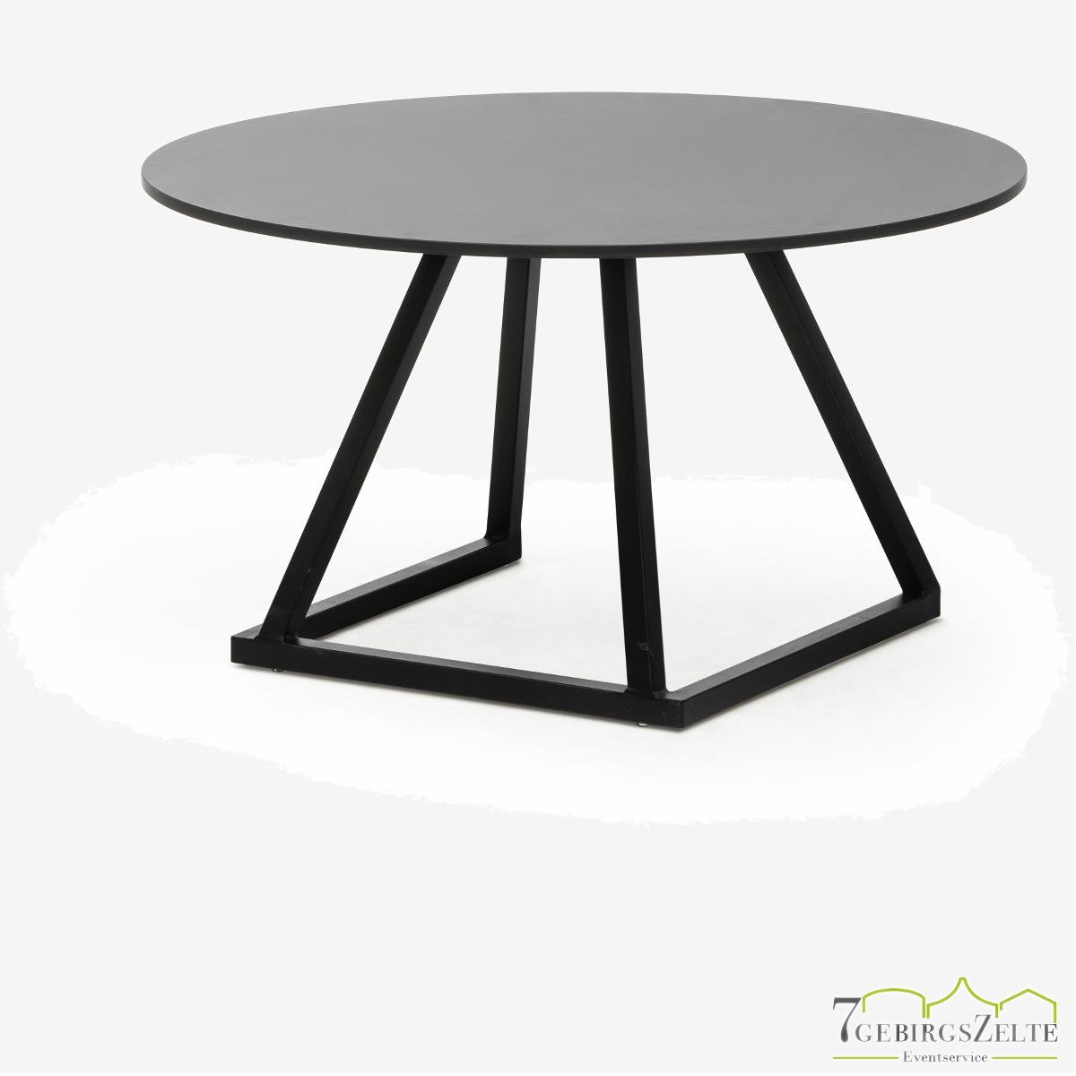Linéa Lounge Round D80 x 40cm  - alu schwarz  - top compact schwarz
