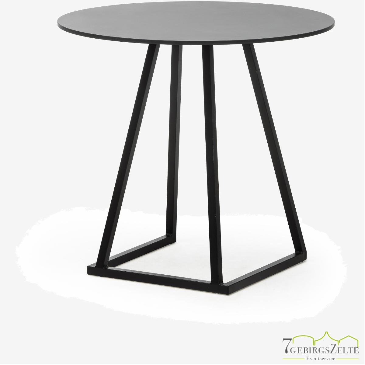 Linéa Dinner Round D80 x 74cm  - alu schwarz  - top compact schwarz